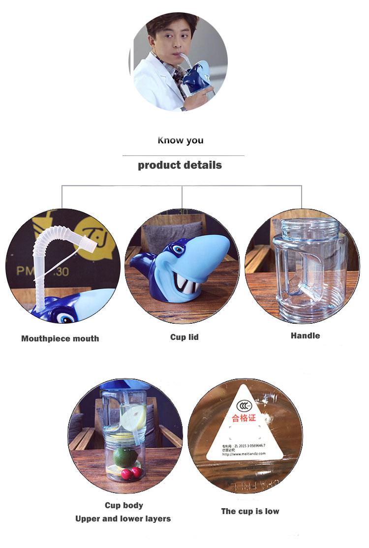 700Ml kõrrega Haikala kujundusega kahe-osaline joogitops lastele