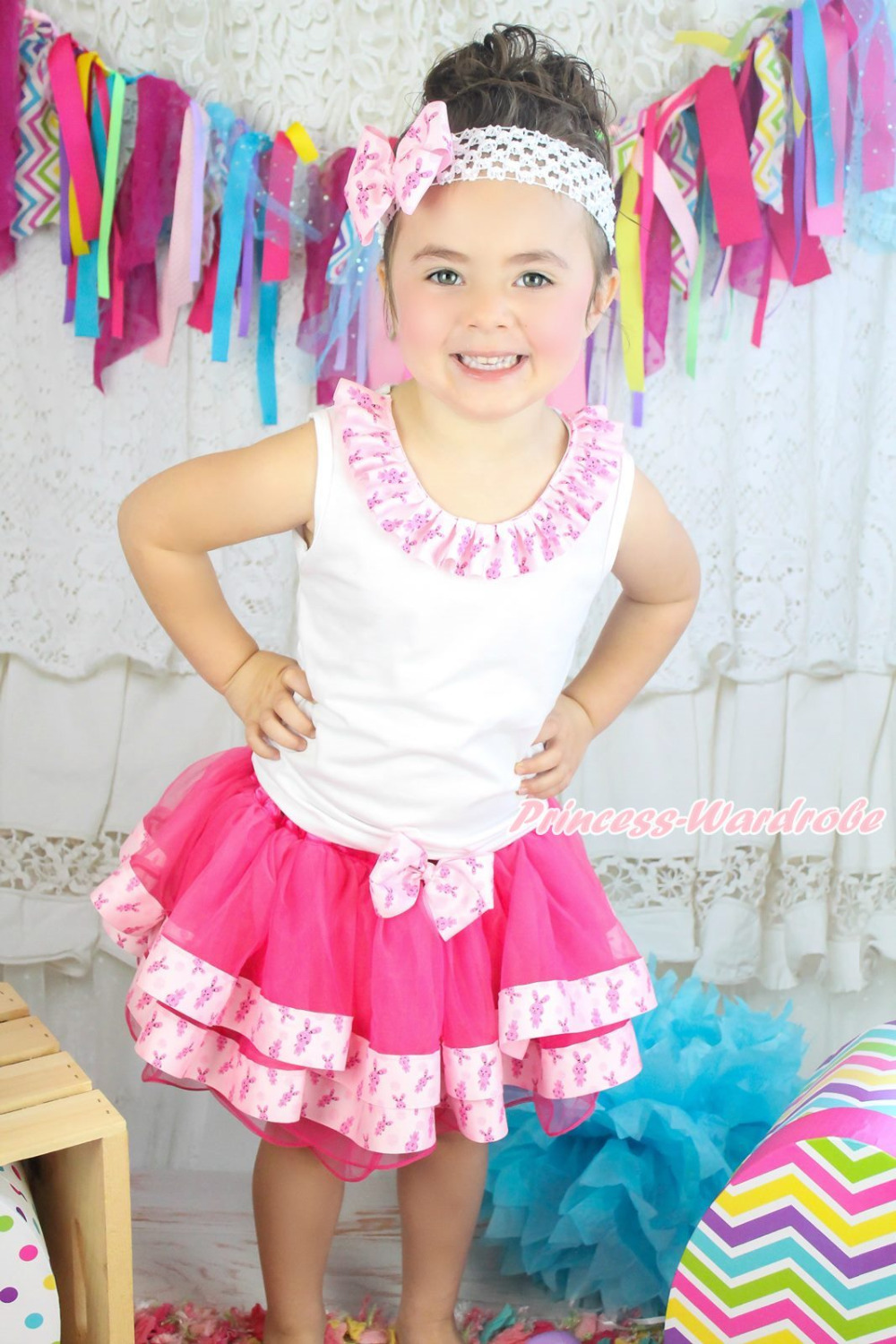 Easter Lacing White Top Hot Pink Bunny Satin Trim Pettiskirt Girl Outfit NB-8Y MAPSA0604<br>