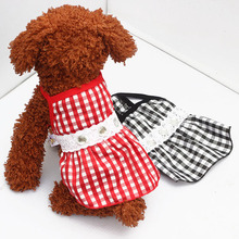 Dog Pet Lace Diamond Plaid Tutu Dress Puppy Doggie Summer Shirt Clothes Costumes clothing for dogs(China)