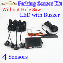 Car Parking Sensor Kit No Hole Saw Buzzer / LED / LCD Display Backup Radar Monitor System 12V 8 Colors 4 Sensors 22mm