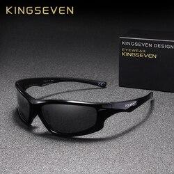 Мужские солнцезащ. очки с зерк.линзами KINGSEVEN, черные солнцезащитные очки с поляризованными линзами с зеркальным покрытием, подходящими для ...
