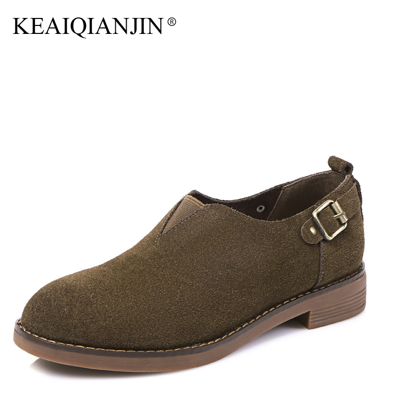 KEAIQIANJIN Woman Woman Oxford Flats Spring Autumn Loafers Black Green Platform Shoes Genuine Leather Casual Loafers 2017<br>