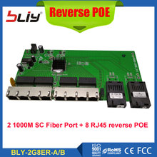 POE Reverse switch board fiber media converter with 2SC + 8 10/100/1000Mbps RJ45 Ethernet ports POE reverso fiber optical switch(China)