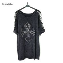 Harajuku Open Shoulder Beading CROSS Top tee Punk rock  vintage Oversized loose Holes T Shirt O Neck Water Wash   LT212S30