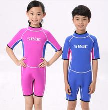 2mm Neoprene Short Sleeves Kids Wetsuits Diving Suits for Boys/Girls Children Rash Guards One Pieces Surfing Swim Snorkel DBO