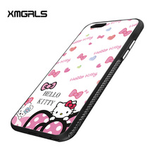 xmgrls for iPhone 7 plus case pattern non-slip PC frosted scale hello Kitty mobile phone cases mobile phone bag(China)