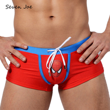 Seven Joe High quality Men's boxer superman shorts sexy man hot spring bathing suit Comfortable and breathable Trunks(China)