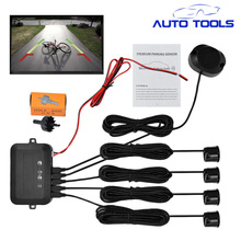 4 Parking Sensors Buzzer 22mm Car Parking Sensor Kit Reverse Backup Radar Sound Alert Indicator Probe System 12V car styling