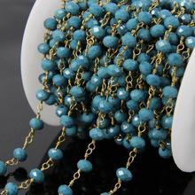 5Meters Candy blue Glass Bead Rondelle Chains,Faceted Beads Wire Wrapped Brass Rosary Chains Necklace Jewelry supplies 4x6mm