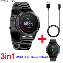 3in1 3PCS Glass Screen Protector+Metal strap +1M USB Charger Cable for Garmin Fenix 5 watch fenix Chronos wristband bracelet(China)