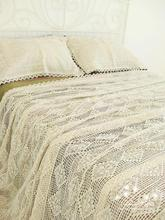100%Cotton Handmade Crochet Bedspread With Pillowcases Crocheted Coverlets Bed Linen White Lace Bedding Sets Princess bed sheet(China)
