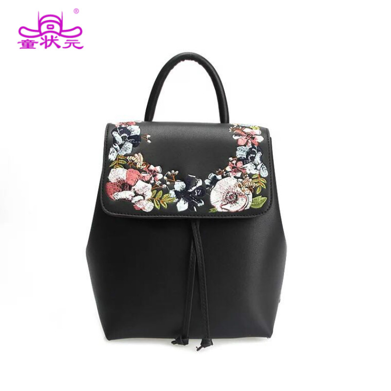 2017 The New  Fashion Women Casual Backpacks Embroidery Floral Backpack Grils Black PU Leather Drawstring Backpack <br>