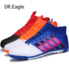 Dr.eagle Men football sock boots crampons flying weaving Football Shoes with ankle futsal ball training soccer boots wholesale
