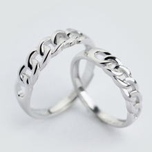 Dainty Unique Design Curb Link Chain Adjustable 925-sterling-silver Ring | His & Hers Promise Rings Sterling-silver-jewelry Gift