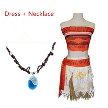 vaiana moana necklace princesse infantil Party Dress Cosplay Costume Fantasia Moana Birthday Halloween Costume Kids Girls adult(China)