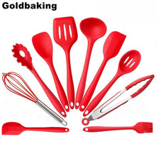 10 PCS Silicone Kitchen Utensils Set Heat Resistant and Non-stick Silicone Cooking Set Utensil For Kitchen(China)