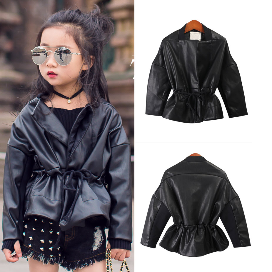 Leather jacket new look - 2017 New Look Teens Batwing Sleeve Pu Leather Coat Baby Jackets For Girl Wholesale Kids Spring