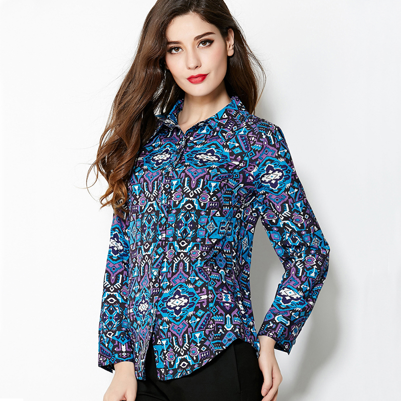 Plus Size XL Shirt 2016 Early Spring Summer New Fashion Good Women's Long Sleeve Printed Novelty Blue Blouse(China (Mainland))