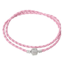 "DoreenBeads Polyurethane Rope European Style Bracelets silver tone color Pink Snap Clasp 40.5cm(16"") long,3 PCs 2015 new(China)"