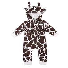 Autumn Baby Romper Milk Cow Cute New Lovely Infant Baby Girls Boys Playsuit Hooded Romper Costume Outfits Animal 0-24M