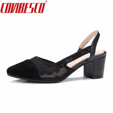 COVIBESCO Women Med Heels Pumps Shoes Classic New High Quality Slingbacks Pumps Shoes for Office Ladies Elegant Prom Shoes