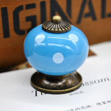 2016 New Ceramic Handle Drawer Polka Dot Print Single Hole Door Handles Furniture Hardware Pumpkin Shaped Handling Tool