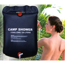 Outdoor Travel Sports PVC Solar Shower Water Bag with Mini Portable LED Camping Lantern USB Hiking Night Hanging Lamp(China)