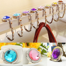 Foldable Handbag Purse Hanger Convenient Table Hook Hang Round Rhinestone Holder