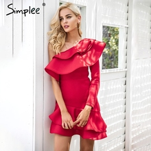 Buy Simplee One shoulder ruffle bodycon dress Women elegant long sleeve autumn slim dress Female sexy party club dress vestidos 2017 for $19.94 in AliExpress store