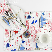 DUNXDECO 2PCS 30x40cm Summer Style Sea Boat Tower Red Blue Linen Cotton Table Placemat Home Table Mats Store Decor Photo Prop