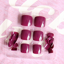 New Arrival 24pcs Solid Candy Style Toe Nails Ruby Red/Nude Yellow/Taro Purple/Grey Full Cover Finished Feet Patch
