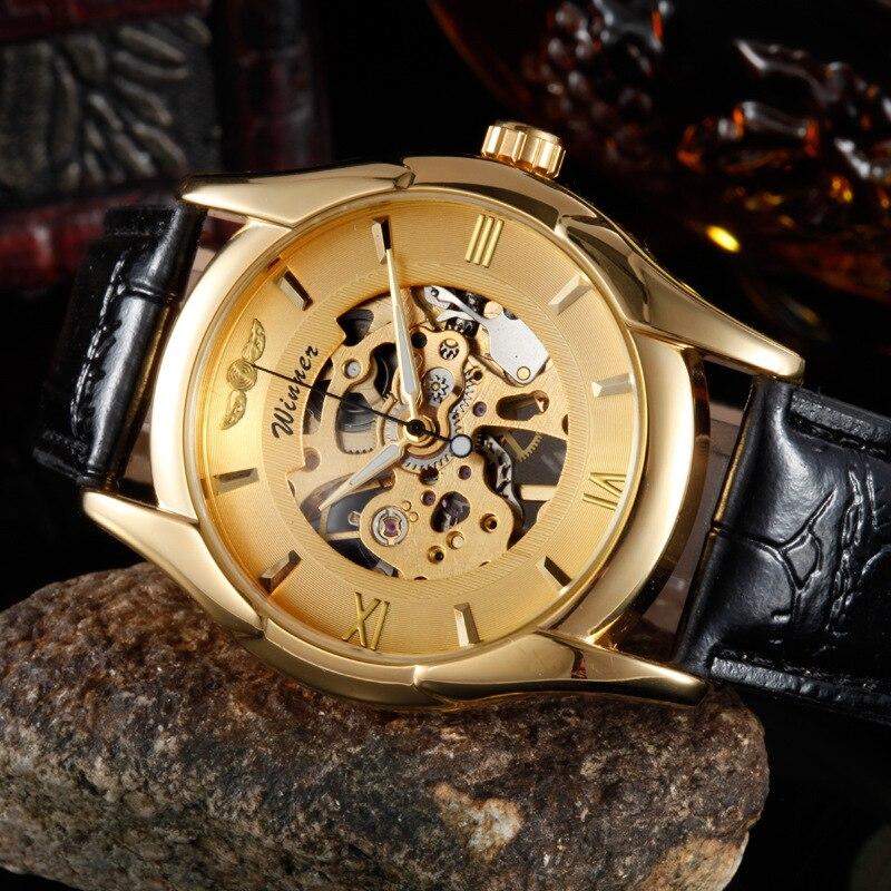 Hot Sale Senior Gem Glass Manual Mechanical Mens Quartz Watches    HB88<br><br>Aliexpress
