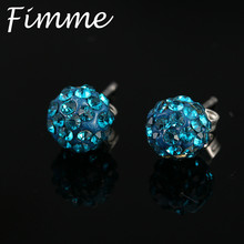 Fashion 8mm Shamballa Crystal Balls Stud Earrings for Women Trendy Colorful Small Statement Earrings Jewelry Bijoux Femme(China)