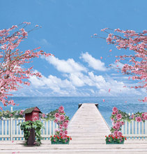 Seaside long pier vinyl cloth blue sky pink flower photography backdrops for wedding children photo studio portrait backgrounds(China)