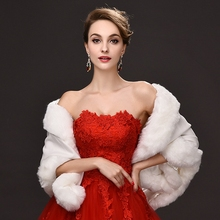Ivory Black or Red Faux Fur Coat Wedding Bolero Women Bridal Wedding Jacket Cape for Evening Dresses wrap de mariage  NMQ42