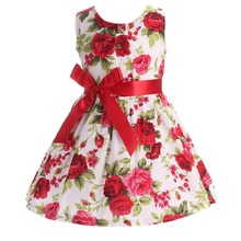 Floral Children Baby Dresses Girl Wedding Party;Princess 1 Year Birthday Girls Dress Cotton Summer 2017 Teenage Vestido Infantil(China)