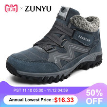 ZUNYU New Men Boots Winter Plush Warm Snow Boots Casual Men Winter Boots Work Shoes Men Footwear Fashion Ankle Boots 39-46