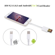 New Arrival Combo Card Reader Compatible OTG Data Cable Digital Camera Kit For iOS 9.2-11 Apple And Android Device Needn't APP(China)