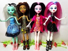 4pcs/lot New style monster fun high Dolls Monster Draculaura hight Moveable Joint,children best gift Wholesale fashion dolls