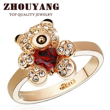ZHOUYANG Top Quality ZYR130 Gold Little Bear Red Crystal Ring Rose Gold Color Austrian Crystals Full Sizes Wholesale