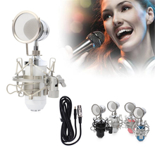 Professional Sound Studio Recording Condenser Wired Microphone With 3.5mm Plug Stand Holder Pop Filter for  KTV Karaoke