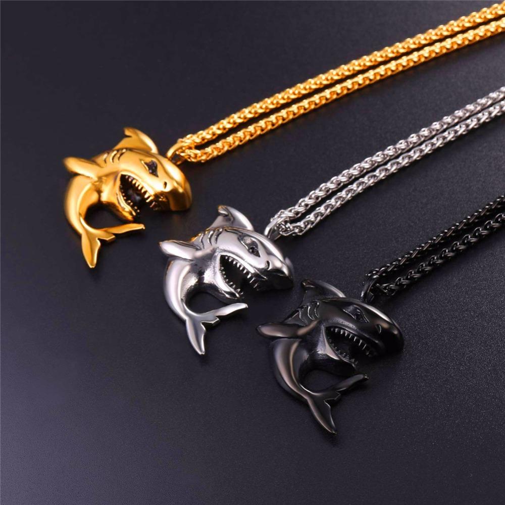 """Punk Shark"" Stainless Steel Shark Necklace / Chain 2"