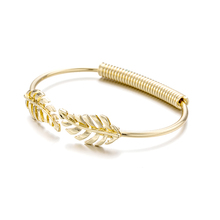 2017 Ancient Greece Romantic Rice spike Leaf Bracelets & Bangles Golden & Silver Open Bangle For Women Gift Cuff Bracelet(China)