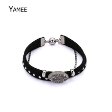 Fashion Silver Oval Raw Minerals Natural Druzy Quartz Black Leather Rope Magnet Buckle Bracelet For Women Gift Charms Jewelry(China)
