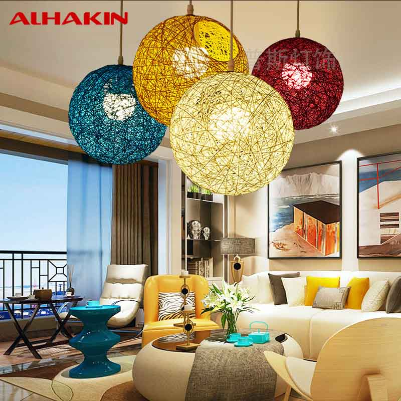 Cheap Modern 15cm Wood white/yellow/blue colorful Pendant Lamp 110V/220V round Pendant Lights For Restaurant/Coffee/Bedroom<br><br>Aliexpress