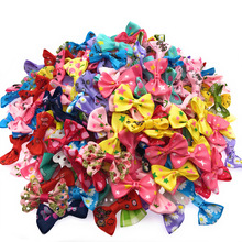 100 Pcs/lot Mini Small Pringting Ribbon Bow Pet Bowknot Craft ONLY BOW NO CLIPS DIY Wedding Decor Hair Accessories