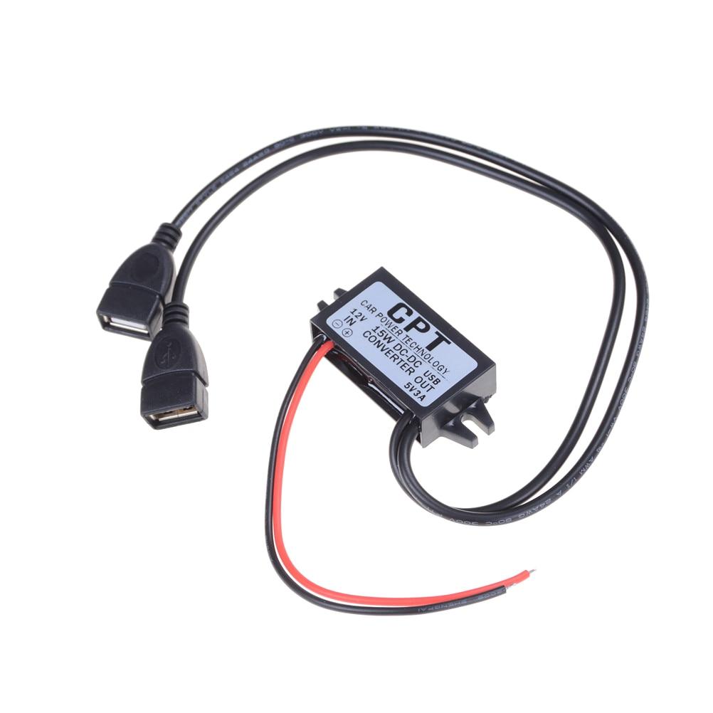 New Sale 1pcs DC DC Converter 12V Buck To 5V 3A Dual USB Output Jack Car Power Regulator Voltage Step Down Module Power Supply