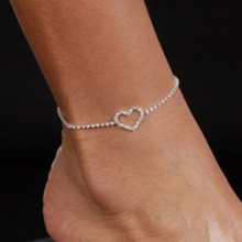 Excellent Sexy Lady Heart Rhinestone Anklet Foot Wedding Jewelry Simple Design Ankle Bracelet 4ZCV(China)