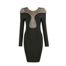 factory wholesale 2018 New Dress Black Long sleeves Beading Tight fashion luxury Cocktail party bandage dress (L2244)(China)