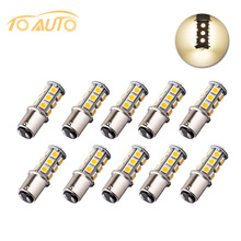 10pcs 1142 BA15D 18 SMD 5050 Tail Turn Signal lamp Warm White led car bulbs rear brake Lights Car Light Source parking 12V